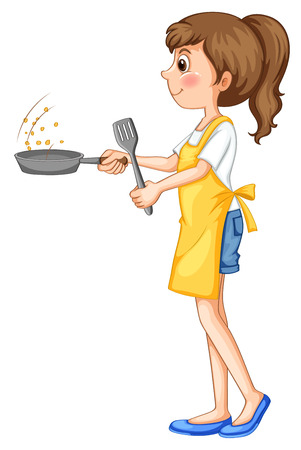 close up food: Cute girl frying something with the pan