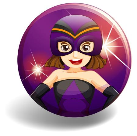 superwoman: Superwoman wearing mask on purple badge Illustration
