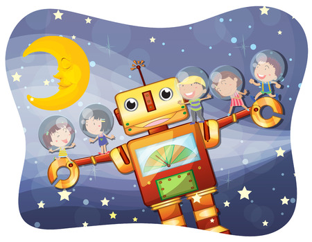 night time: Children and robot at night time