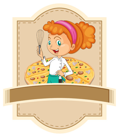 chef clipart: Blank banner with chef and pizza background Illustration