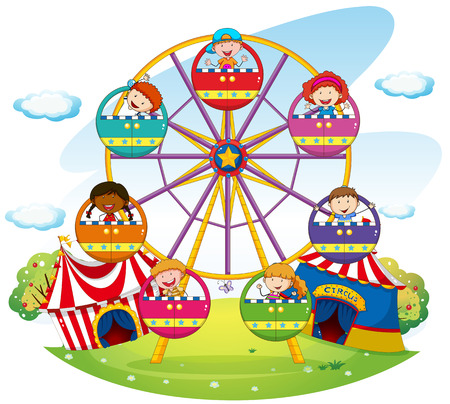 a wheel: Children riding on ferris wheel  in the park Illustration