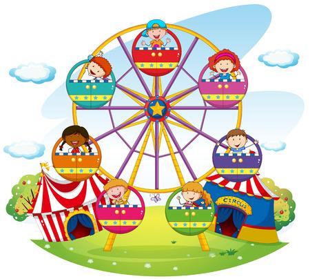 Children riding on ferris wheel  in the park Illustration