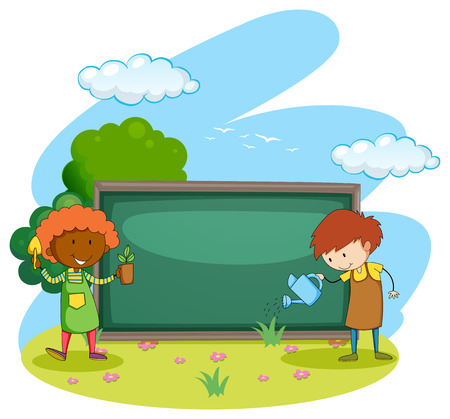 planting: Gardeners planting and watering plants