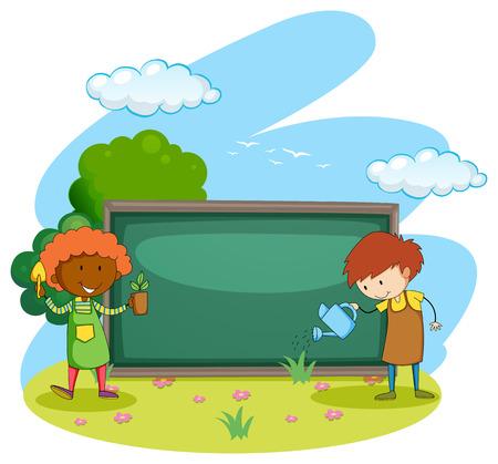 regando plantas: Jardineros plantar y regar las plantas Vectores