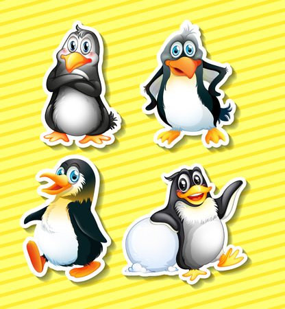 Set of four panguin stickers on yellow background Illustration
