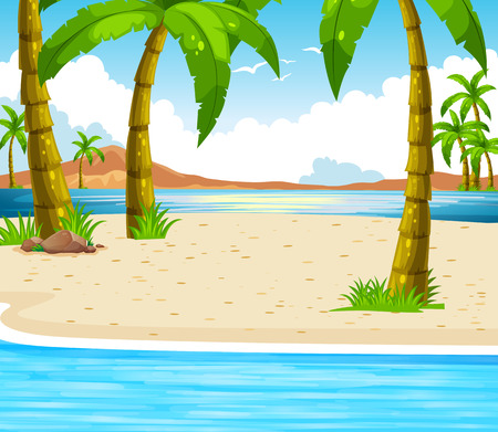 coconut trees: Beach scene with coconut trees
