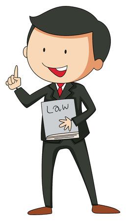 Prawnik w garniturze trzyma książkę prawniczą