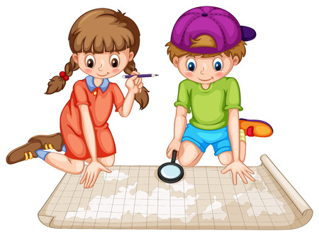 children writing: Boy and girl looking at world atlas