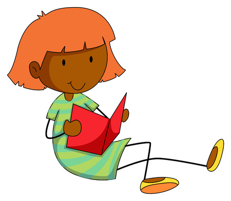 storybook: Happy girl reading storybook alone Illustration