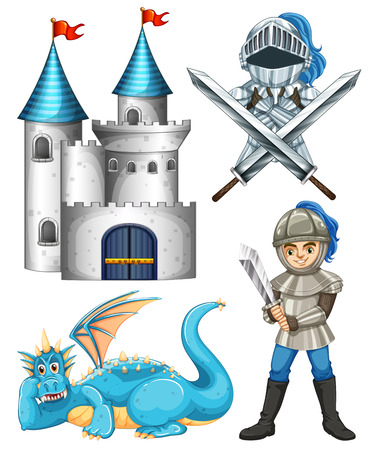 fantacy: Set of fairytales with knight and dragon Illustration