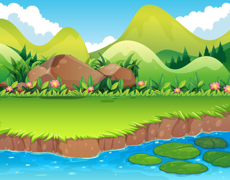 river bank: River scene with lawn and mountains Illustration