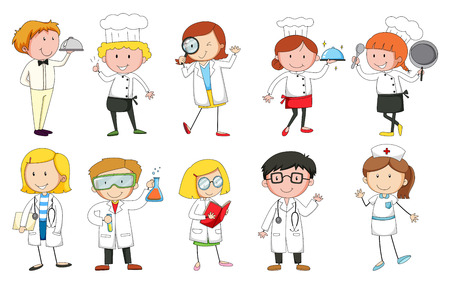 People in uniform doing different occupations Illustration