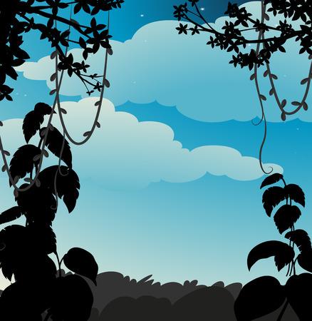 selva: Silueta de la vid que cuelga del árbol