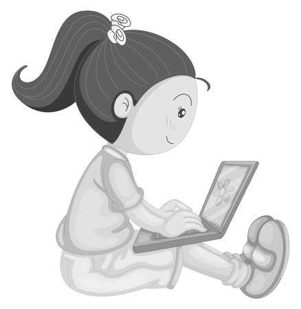 girl laptop: Happy girl working on laptop computer
