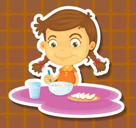 niños desayunando: Chica de cereales y manzana de comer para el desayuno
