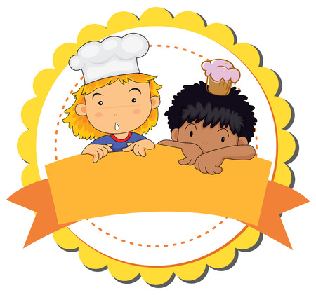 Blank badge with boy and girl background Illustration
