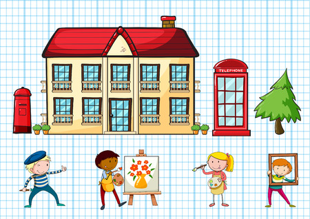 telephone booth: Poster of a school building with children darwing and coloring Illustration