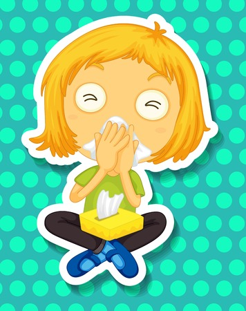 noses: Sticker of a girl sitting covering her nose with a tissue