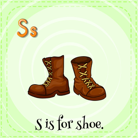 preschool poster: Flashcard of alphabet S with a pair of brown shoes