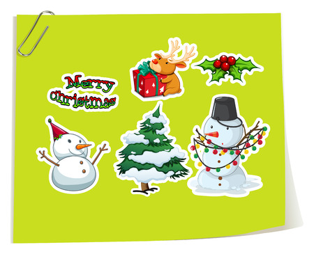 gree: Stickers of Christmas theme on gree paper with paper clip Illustration