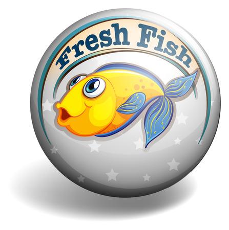 fresh fish: Round badge with fresh fish design