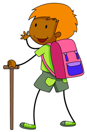 thrilled: Boy carrying a bag and holding a stick going for camping