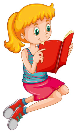 storybook: Cute girl reading a storybook alone