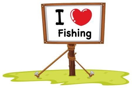 sign in: Ich liebe Fischen-Zeichen in Holzrahmen