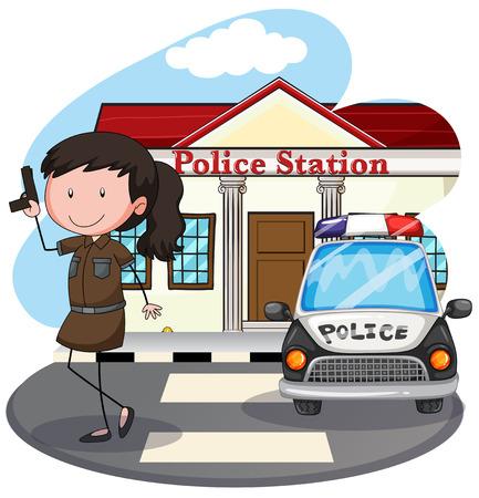 femme policier: Policière avec un pistolet à la station de police