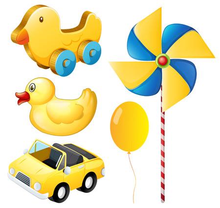 carro caricatura: Juguetes amarillos en el fondo blanco Vectores