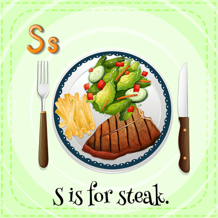 knife fork: Flashcard Alphabet S is for steak
