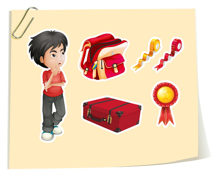 wondering: Stickers of a boy and other accessories on a paper