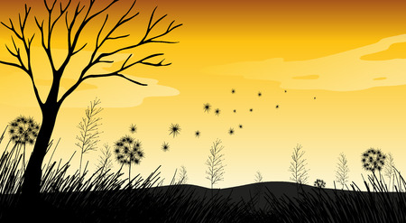 dry grass: Silhouette field with grass and dry tree Illustration