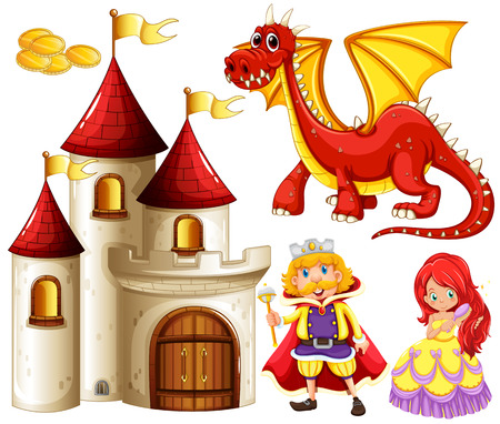 castillos de princesas: Conjunto de cuentos de hadas con el dragón y el castillo