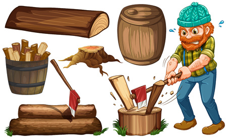 cartoon wood bucket: Lumberjack chopping woods and other items of wood Illustration