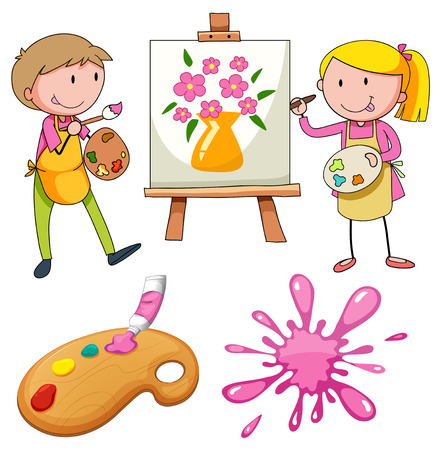 artist's canvas: Artists painting flowers on canvas Illustration