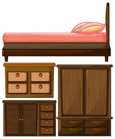 muebles de madera: Conjunto de madera cama muebles y armario