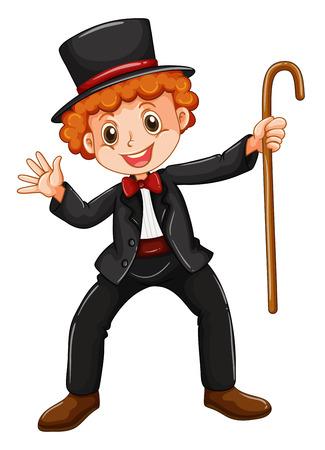 walking stick: Magician in texido holding a walking stick