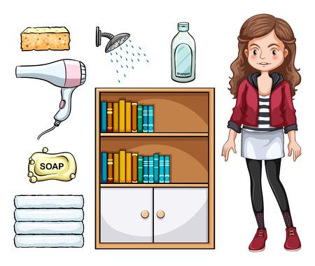 objetos de la casa: La muchacha y el conjunto de objetos dom�sticos
