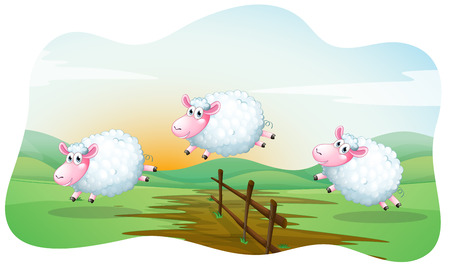 Three sheeps jumping over the fence