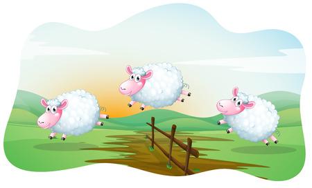 pecora: Tre pecore che saltano oltre la recinzione