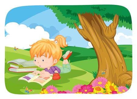 flor caricatura: Cartel de una niña de leer libros bajo un gran árbol