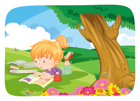 children book: Poster of a girl reading books under a big tree