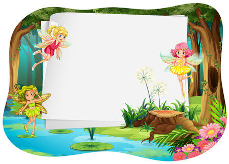 background picture: Fairies flying around a blank banner