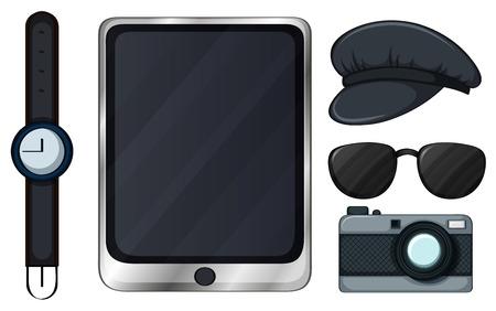 goggles: Set of accessory in black color