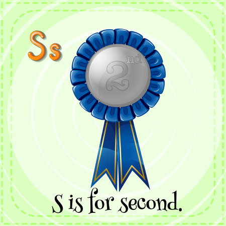 kid s illustration: Flashcard letter S is for second