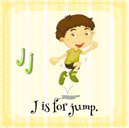 jumping: Flashcard of an alphabet J with a boy jumping