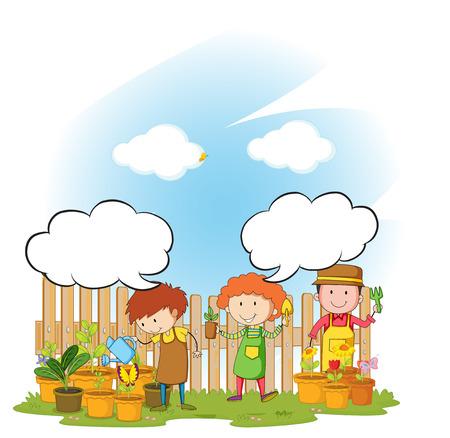landscape gardener: Gardeners watering and planting tree in the garden
