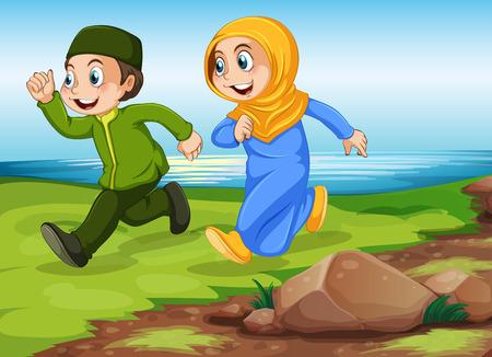 enamorados caricatura: Hombre y mujer los musulmanes que se ejecutan en el parque