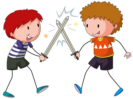 sword fight: Two boys playing sword fight